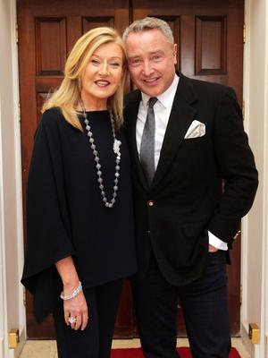 Louise Kennedy and Michael Flatley are pictured at the 9th annual Ireland Funds Rugby Lunch in Dublin's Shelbourne Hotel. Photo: Mark Stedman