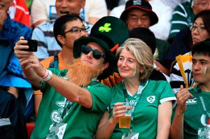 Japanese and Irish fans at the stadium in Yokohama for Ireland's first game versus Scotland.. Photo: PA