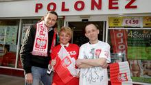 Michal Dziegielewski, marketing manager of Polonez chain of Polish food stores with staff members Agieszka and Krzysztof at the Mary Street store in Dublin. Photo: Arthur Carron