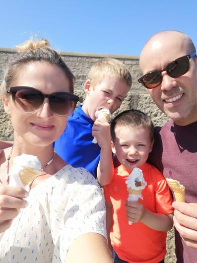 From right to left, Conor Lantry with sons Harry and Ollie and his wife Sarah Rickard
