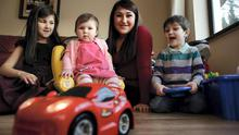 Yazz O'Connor with her daughters Leah ( 5), Sabrina, (1) and David (3) at her home in Dublin
