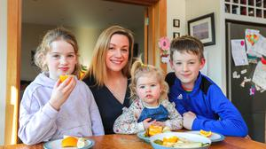 Dietitian Cathy Monaghan with her three children Sadhbh (2), Niamh (9) and Liam (10). Photo: Gerry Mooney