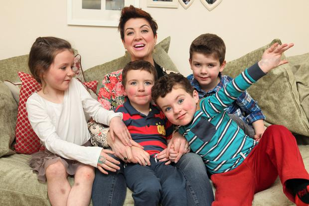 Busy mum-of-four Roisin O'Hara with her kids Riona, twins Eanna and Marcus, and Fionan