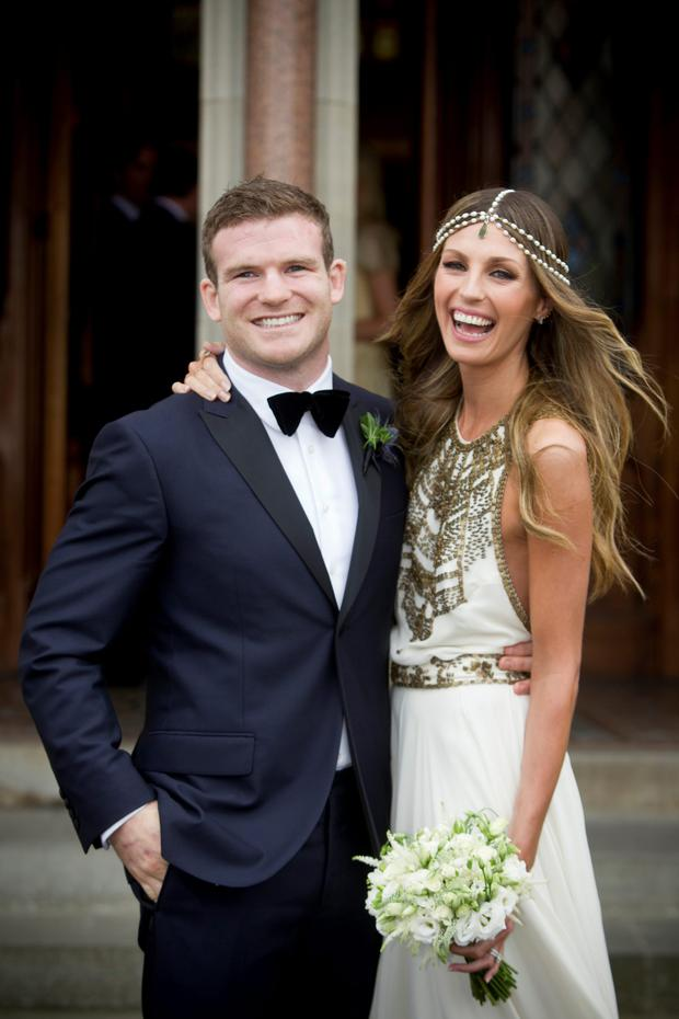 Gordon D'Arcy and Aoife Cogan on their wedding day
