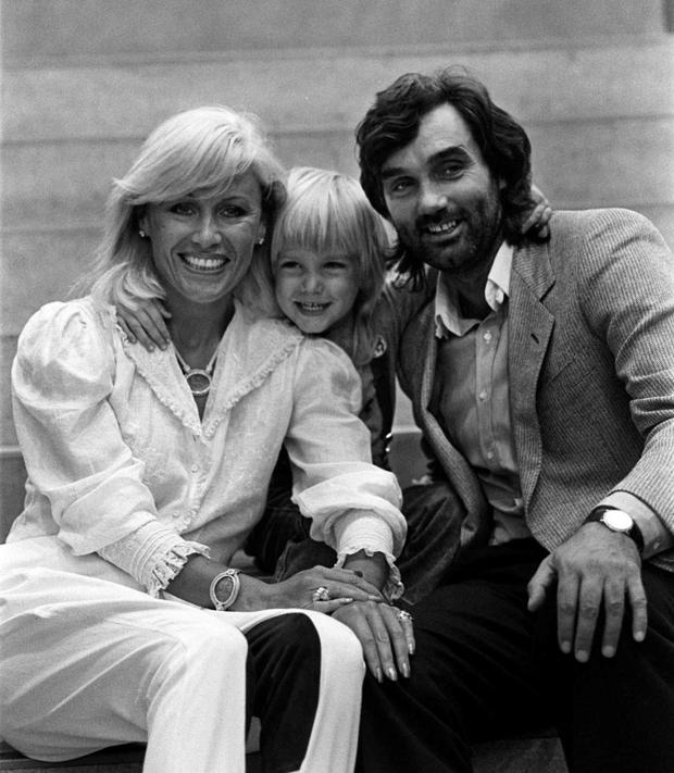 A young Calum Best with his parents Angie and George.
