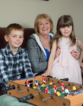 Good balance: Stephanie Sadlier with her two grandchildren Nathan (7) and Elaine (5) who she looks after on Mondays and Wednesdays.