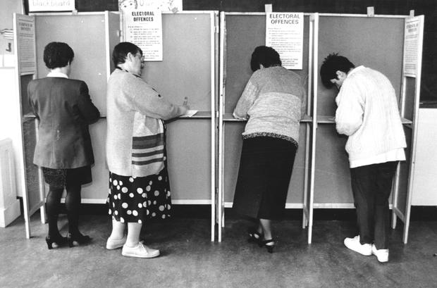 Change: Voting at St Mary's NS in Fairview in the 1995 referendum.