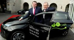 Let's go: Patrick Magee, left, and Colm Brady at the GoCar/Renault EV launch