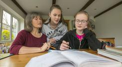 Home work: Margaret Quaid teaches maths to two of her children, Liadháin and Enya. Photo: Patrick Browne