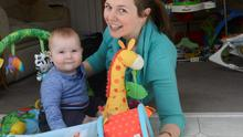 Life turned upside down: Chrissie Russell with baby Tom