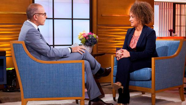 In the chair: Rachel Dolezal is interviewed by Matt Lauer on NBC News Today.