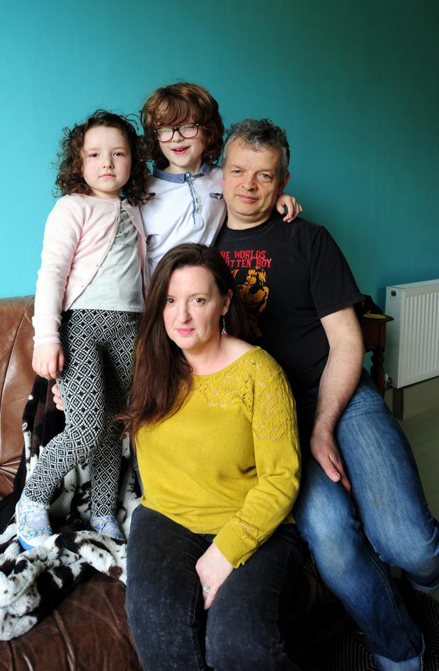 Seamus and Nora Duggan and their children Tomás and Mary Sue at their home in Doolagh, Portlaoise, Co Laois. Photo: James Flynn/APX