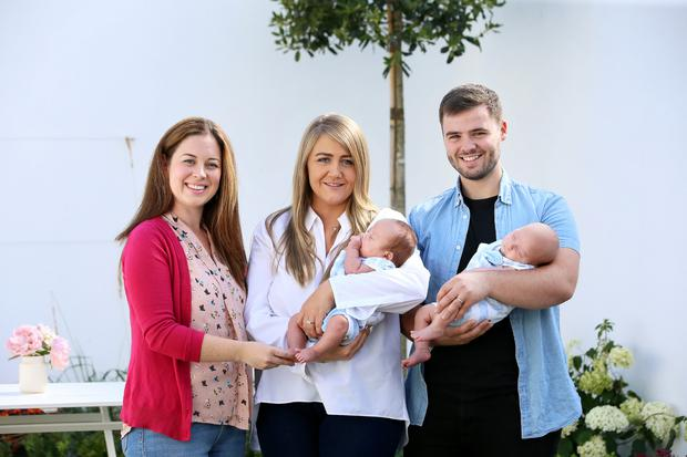 Guidance: Doula Jen Crawford with Lisa Murrin, Dave Kennedy and their twins. Photo: Frank McGrath