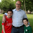 Football fans: Darren Brooks with his two boys Dylan (left, age 15) and Liam (8). Photo: Martin Maher