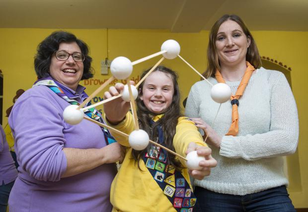 Incorporating Stem: Keri Clarke with her mum Dearbhla (right) and Girl Guides Leader Christine Cumiskey. Photo: Ciara Wilkinson