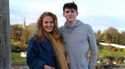 Balancing act: Art Parkinson with his mum Movania in Moville, Co Donegal. Photo: Declan Doherty