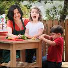 Róisín Matthews - aka Mess Chef - with her daughter Rowena (5) and son Oscar (3). Photo: David Conachy
