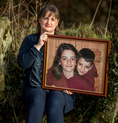 Tragic loss: Kathleen Chada with a picture of her sons Ruairí and Eoghan. Photo: Dylan Vaughan