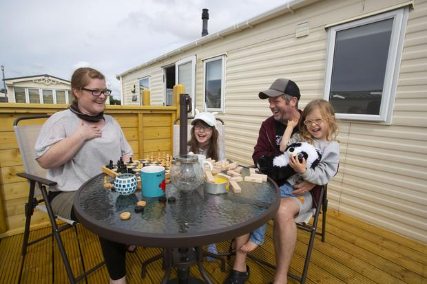 Pictured at The Raven Holiday Home Park, at Curracloe, Co Wexford are Sheena McGinley with husband Mark Linehan and daughters Eva and Lara. Photo: Patrick Browne