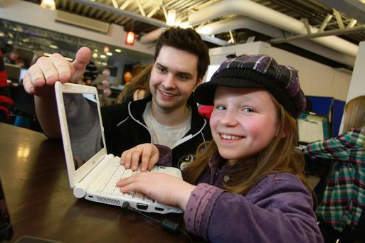 Pictured is Coderdojo Co Founder James Whelton and Megan Cowan (10).