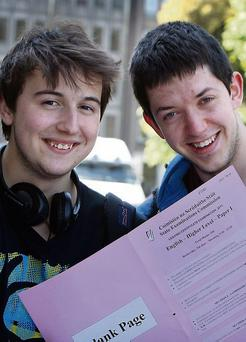 Loic Wright (left) and Darragh Walsh, pupils of CUS, Lower Leeson Street, Dublin, after English Paper 1