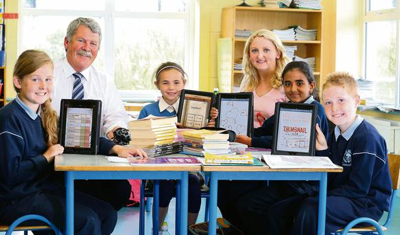 Scoil Mhuire, Coolcotts, Wexford. Pictured are Students Amy Quirke, Sophie Adamson, Rithika Skariah, Jason Kelly with Pat Goff Principle and 4th Class Teacher Tricia Sparling. Picture: Patrick Browne