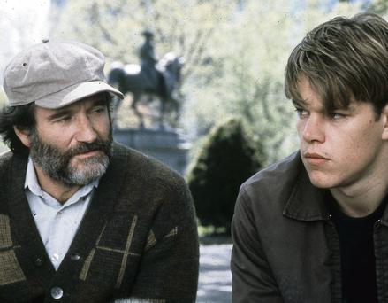 Above and beyond the call: Robin Williams as the inspirational teacher of Matt Damon in the film 'Good Will Hunting'