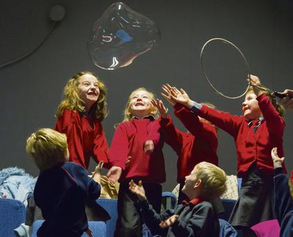 Pictured yesterday are pupils from Ringville National School, Ferrybank, Waterford, who enjoyed a Bubble Show at Waterford Institute of Technology. Patrick Browne