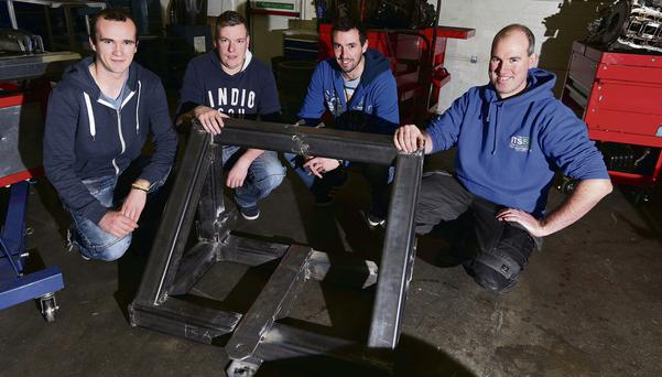 Engineering students, Niall McHale, Gary Lyons and Anthony Mannion of IT Sligo who are designing a machine to cut willow trees