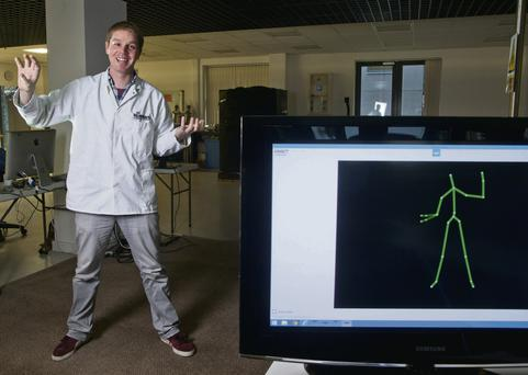 Kinect researcher Kevin O'Mahony of Cork Institute of Technology at his lab in the Nimbus Centre. Clare Keogh