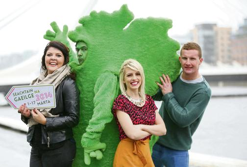 Pictured putting Seachtain na Gaeilge on the map were Lynette Fay, Maire Treasa Ni Dhubhghaill and Ciaran Kilkenny.