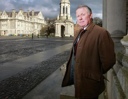 Sins of our past: James Wyse standing on the steps of the exam hall in Trinity College, which was, in 1971, the site of the first Catholic mass in the college since its inception in 1592