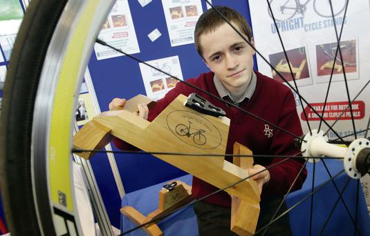 Cathal Daly who won the top prize for his simple but effective bike stand. Mark Stedman
