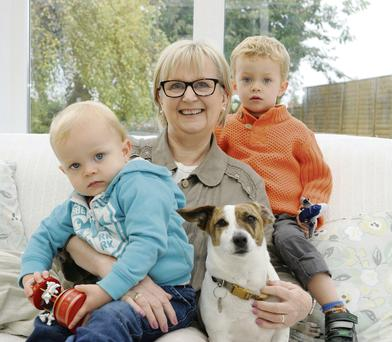 Three's company: Helen Campbell, with her grandchildren, Joshua (3) and James (20 months). Dave Meehan