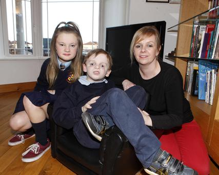 Jocasta Clarke with her son Zenon and her daughter Phaedra at their Navan home. Picture by: Kieran Maguire