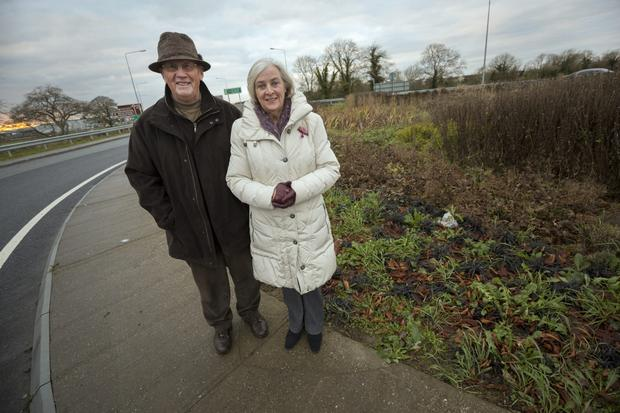 Eamon and Mai Doyle pictured at the roundabout in Kilkenny where they helped deliver a baby. Picture: Dylan Vaughan