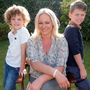 Amanda Brunker with her sons L to R: Setanta (8) and Edward (9) McLaughlin