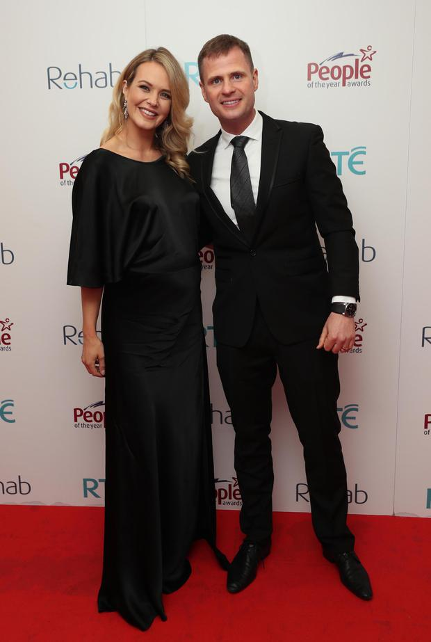 Aoibhin with husband John Burke, pictured recently at the 43rd Rehab People of the Year Awards 2018