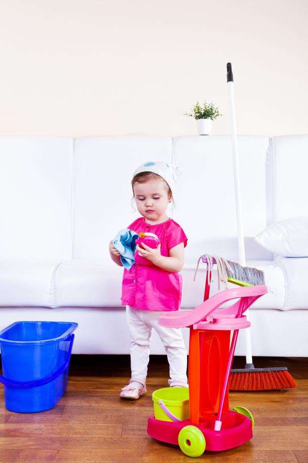 Baby steps: Ease your child into little tasks such as tidying up with lots of help, maybe singing as you tidy together