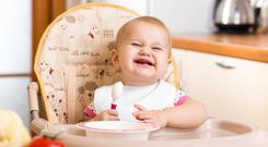 Smile: Babies make faces when eating