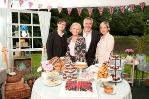 Mary Berry and fellow judge Paul Hollywood with presenters Sue Perkins (far left) and Mel Giedroyc
