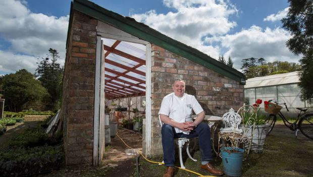 Richard Corrigan is growing his vegetables and flowers at the Cavan estate. Photo: Mark Condren