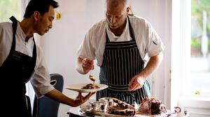 Chef Sean Smith preparing a Sunday lunch at the Cliff Townhouse. Photo by Shane O'Neill