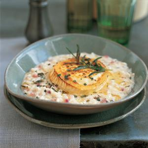 Roasted garlic risotto with goats' cheese and rosemary