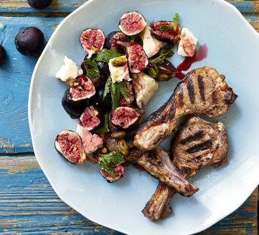 Andre's Pomegranate-Glazed Lamb with Figs and Mint