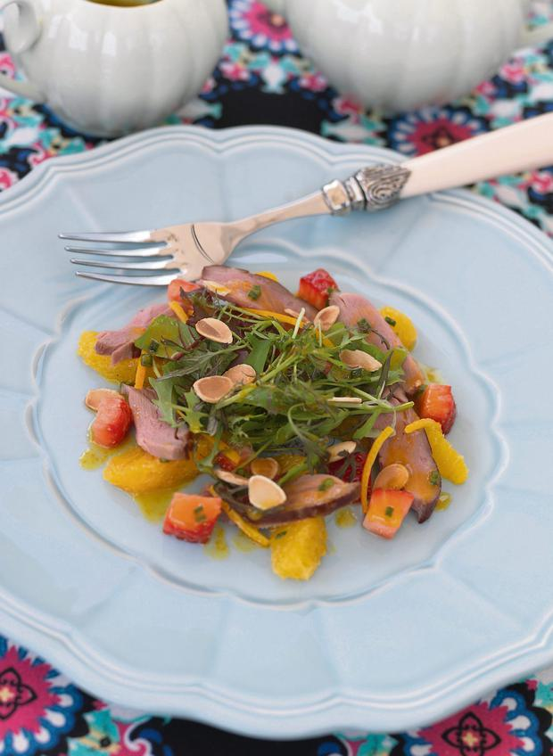 Smoked silver hill duck salad with Clarke's strawberry dressing