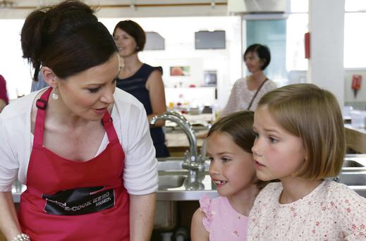 Cooking up a storm: Judge Catherine Fulvio with some keen young cooks