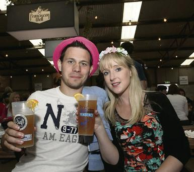 Cheers: Ryan Glynn and Averil Cunning at the Craft Collection Beer Hall at Indiependence