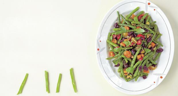 French Beans & Tomatoes with Niçoise Dressing