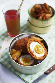 Chorizo Scotch Eggs with Paprika Spiced Potato Salad